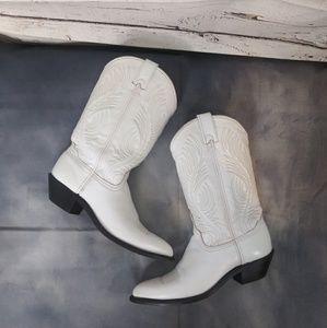 Abilene/ White Cowboy Boots/ Size 8